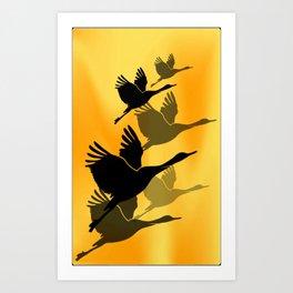 Cranes in flight Art Print