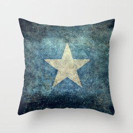 Somalia national flag (officially the Federal Republic of Somalia) Vintage version to scale Throw Pillow