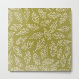 Dark Oak Leaf Pattern - Green Metal Print