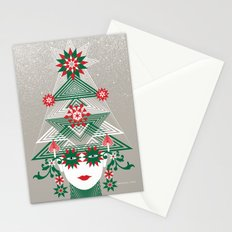 Christmas woman tree Stationery Cards