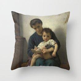 "William-Adolphe Bouguereau ""La grande soeur (The big sister)"" Throw Pillow"