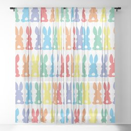 Rainbow Easter Bunny Silhouette Parade Sheer Curtain