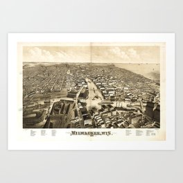 Aerial View of Milwaukee, Wisconsin (1879) Art Print