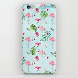 Watercolor blue green tropical floral pink flamingo iPhone Skin