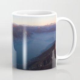 monte baldo garda lake italy drone shot aerial view sunset mountains dust Coffee Mug