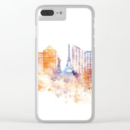 Las Vegas Watercolor Skyline Clear iPhone Case