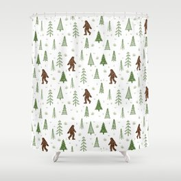 trees + yeti pattern in color Shower Curtain