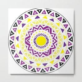 Black, Purple and Yellow Tribal pattern Metal Print