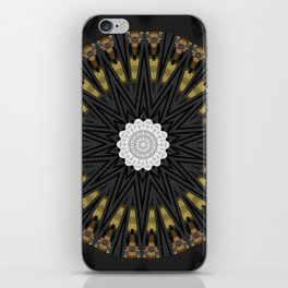 Dark Black Gold & White Marble Mandala iPhone Skin