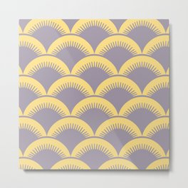 Japanese Fan Pattern Gray and Yellow Metal Print
