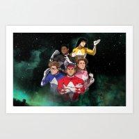 power rangers Art Prints featuring Mighty Morphin' Power Rangers by Ranger Danger