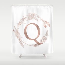 Letter Q Rose Gold Pink Initial Monogram Shower Curtain