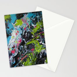 Colorful Abstract Fluid Acrylic Painting Stationery Cards