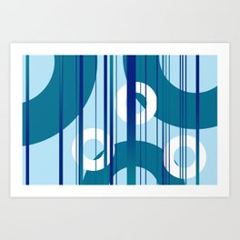 Stripes and Rings in white with blue Art Print