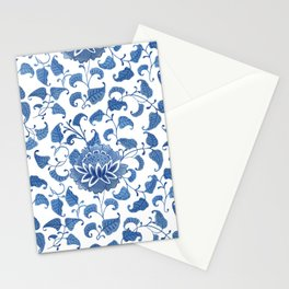 Blue And White Lotus Flowers Vintage Chinoiserie  Stationery Cards