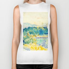 Mediterranean Landscape With a White House Watercolor Landscape Painting Biker Tank