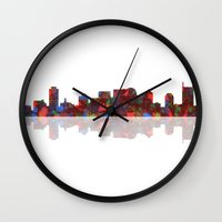 nashville Wall Clocks featuring Nashville Skyline  by Marlene Watson