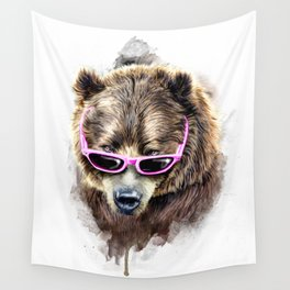 Cool shy bear Wall Tapestry