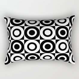 Mid Century Square and Circle Pattern 541 Black and White Rectangular Pillow