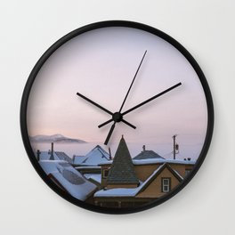 Winter In An Old Mining Town Wall Clock
