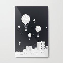Balloons and the city (dark version) Metal Print