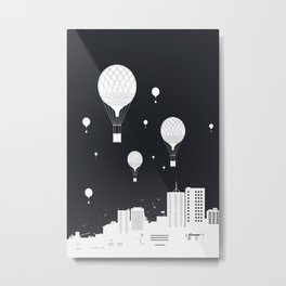 Balloons and the city (dark version) Metal Print