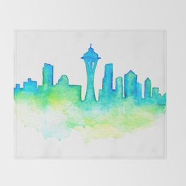 Seattle Skyline Watercolor in Blue and Green Throw Blanket