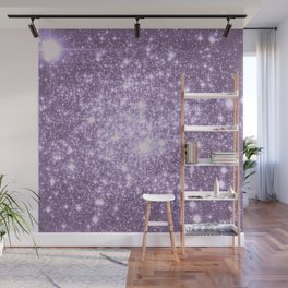 Lilac Galaxy Sparkle Stars Wall Mural