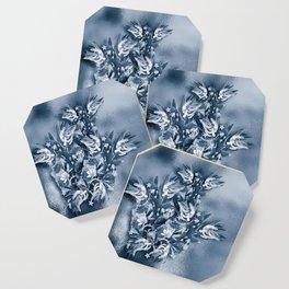 Beautiful flower bouquet on a rippled deep blue background Coaster