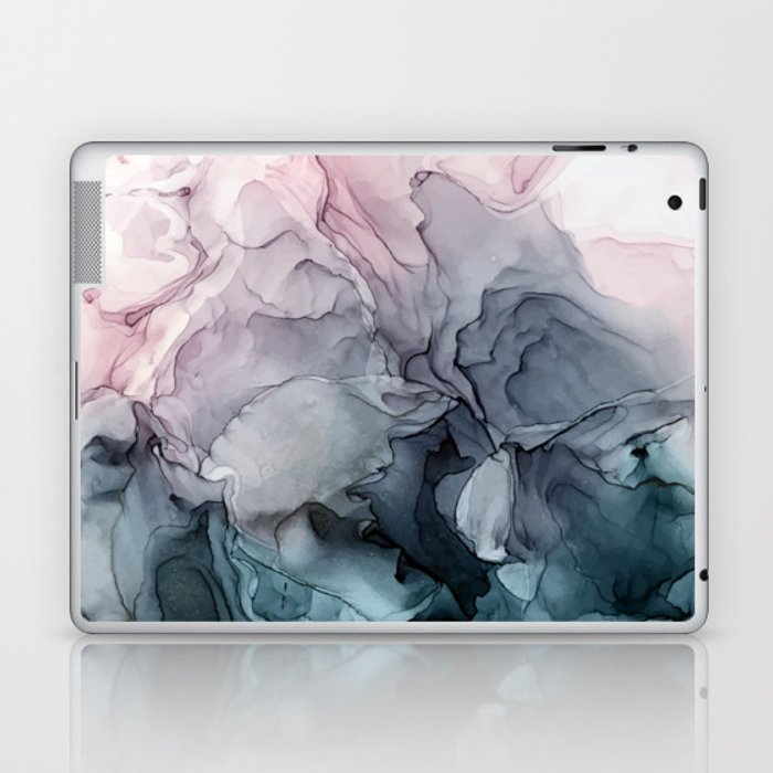 Blush and Paynes Gray Flowing Abstract Reflect Laptop & iPad Skin