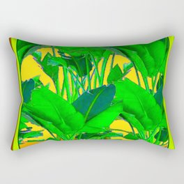COFFEE BROWN TROPICAL GREEN & GOLD FOLIAGE ART Rectangular Pillow