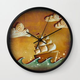 Lullaby Bay - ship at sea Wall Clock