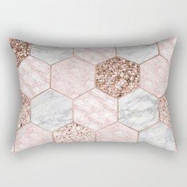 Rose gold dreaming - marble hexagons Rectangular Pillow