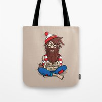 waldo Tote Bags featuring Will help find Waldo for food by mebz art