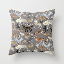 Wolves of the world 1 Throw Pillow