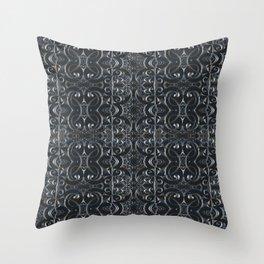 Silver Metallic Lace Goth Rococo Mandala Pattern Throw Pillow