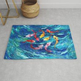 Koi fish rainbow abstract paintings Rug