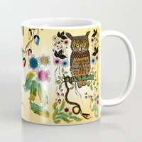 andreas preis Mugs featuring Vibrant Jungle Owl and Snake by famenxt
