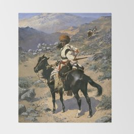 "Frederic Remington Western Art ""An Indian Trapper"" Throw Blanket"