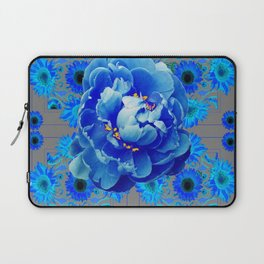 Baby Blue & Charcoal Grey Floral  Abstract Art Laptop Sleeve