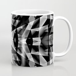 Exclusive mosaic pattern of chaotic black and white fragments of glass, metal and ice floes. Coffee Mug