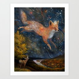 The Fox In The Starlight Art Print