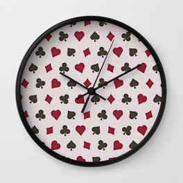 Suit (Card) Pattern -  Red & Black Spades, Hearts, Diamonds and Clubs Wall Clock