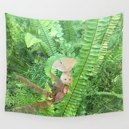 She Flies Around in the Spring Ferns Wall Tapestry