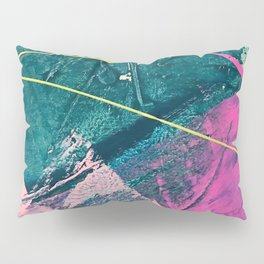 Wild [6]: a vibrant, bold, minimal abstract piece in teal, pink, and green Pillow Sham
