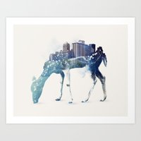 city Art Prints featuring City Deer by Robert Farkas
