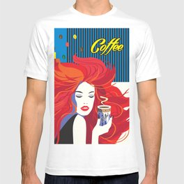 """""""Beautiful Fashion Woman and Coffee Cup"""" POP-ART poster, Retro, Design T-shirt"""
