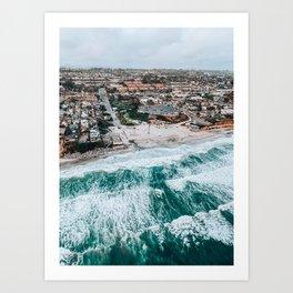 Moonlight Beach | San Diego Aerial Photo Art Print