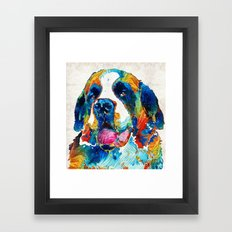Colorful Saint Bernard Dog by Sharon Cummings Framed Art Print