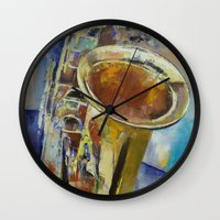 saxophone Wall Clocks featuring Saxophone by Michael Creese